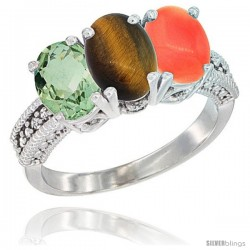 14K White Gold Natural Green Amethyst, Tiger Eye & Coral Ring 3-Stone 7x5 mm Oval Diamond Accent