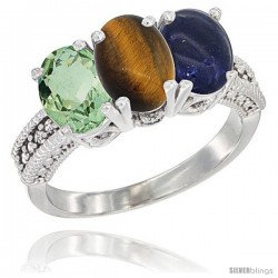 14K White Gold Natural Green Amethyst, Tiger Eye & Lapis Ring 3-Stone 7x5 mm Oval Diamond Accent