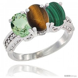 14K White Gold Natural Green Amethyst, Tiger Eye & Malachite Ring 3-Stone 7x5 mm Oval Diamond Accent