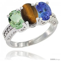 14K White Gold Natural Green Amethyst, Tiger Eye & Tanzanite Ring 3-Stone 7x5 mm Oval Diamond Accent