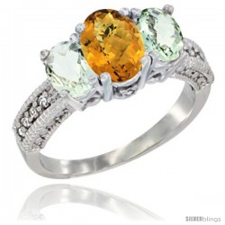 14k White Gold Ladies Oval Natural Whisky Quartz 3-Stone Ring with Green Amethyst Sides Diamond Accent