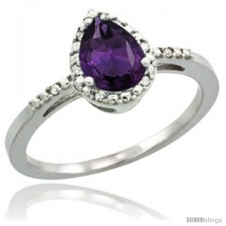 Sterling Silver Diamond Natural Amethyst Ring 0.59 ct Tear Drop 7x5 Stone 3/8 in wide
