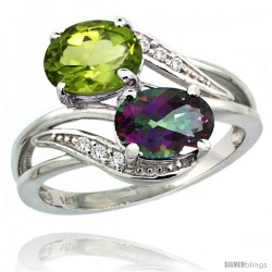 14k White Gold ( 8x6 mm ) Double Stone Engagement Mystic Topaz & Peridot Ring w/ 0.07 Carat Brilliant Cut Diamonds & 2.34