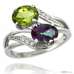 14k White Gold ( 8x6 mm ) Double Stone Engagement Mystic Topaz & Peridot Ring w/ 0.07 Carat Brilliant Cut Diamonds & 2.34