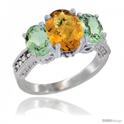 14K White Gold Ladies 3-Stone Oval Natural Whisky Quartz Ring with Green Amethyst Sides Diamond Accent