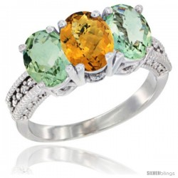 14K White Gold Natural Whisky Quartz & Green Amethyst Sides Ring 3-Stone 7x5 mm Oval Diamond Accent