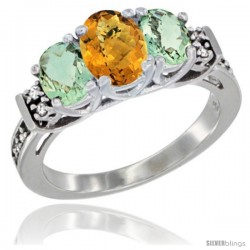 14K White Gold Natural Whisky Quartz & Green Amethyst Ring 3-Stone Oval with Diamond Accent
