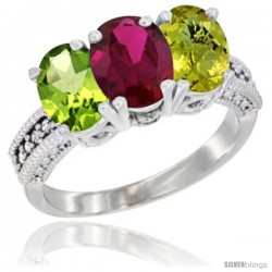 14K White Gold Natural Peridot, Ruby & Lemon Quartz Ring 3-Stone Oval 7x5 mm Diamond Accent