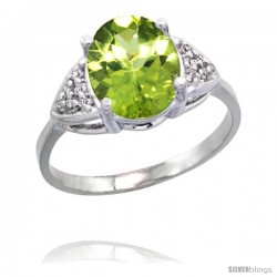 14k White Gold Diamond Peridot Ring 2.40 ct Oval 10x8 Stone 3/8 in wide