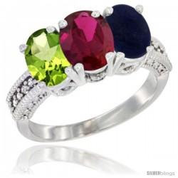 14K White Gold Natural Peridot, Ruby & Lapis Ring 3-Stone Oval 7x5 mm Diamond Accent