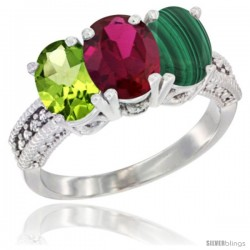 14K White Gold Natural Peridot, Ruby & Malachite Ring 3-Stone Oval 7x5 mm Diamond Accent