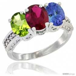 14K White Gold Natural Peridot, Ruby & Tanzanite Ring 3-Stone Oval 7x5 mm Diamond Accent