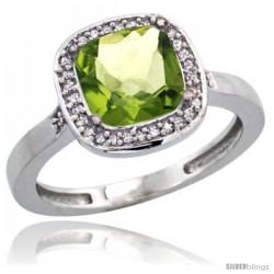 14k White Gold Diamond Peridot Ring 2.08 ct Checkerboard Cushion 8mm Stone 1/2.08 in wide