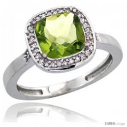 14k White Gold Diamond Peridot Ring 2.08 ct Checkerboard Cushion 8mm Stone 1/2.08 in wide