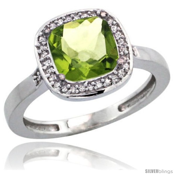 https://www.silverblings.com/16225-thickbox_default/14k-white-gold-diamond-peridot-ring-2-08-ct-checkerboard-cushion-8mm-stone-1-2-08-in-wide.jpg