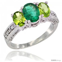14k White Gold Ladies Oval Natural Emerald 3-Stone Ring with Peridot Sides Diamond Accent