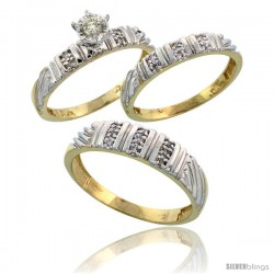 10k Yellow Gold Diamond Trio Wedding Ring Set His 5mm & Hers 3.5mm -Style 10y117w3