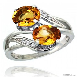 14k White Gold ( 8x6 mm ) Double Stone Engagement Citrine Ring w/ 0.07 Carat Brilliant Cut Diamonds & 2.34 Carats Oval Cut