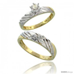 10k Yellow Gold 2-Piece Diamond wedding Engagement Ring Set for Him & Her, 3.5mm & 5mm wide -Style 10y118em