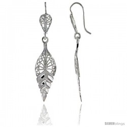 "Sterling Silver 1 13/16"" (46 mm) tall Leaf Filigree Dangle Earrings"
