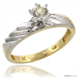 10k Yellow Gold Diamond Engagement Ring, 1/8inch wide -Style 10y118er