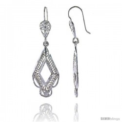 "Sterling Silver 1 3/4"" (45 mm) tall Diamond-shaped Filigree Dangle Earrings"