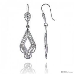 "Sterling Silver 1 3/4"" (45 mm) tall Diamond-shaped Filigree Dangle Earrings"