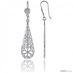 "Sterling Silver 2 3/16"" (55 mm) tall Teardrop Filigree Dangle Earrings, w/ Floral Designs"