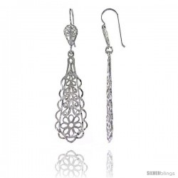 "Sterling Silver 2 3/16"" (55 mm) tall Teardrop Filigree Dangle Earrings, w/ Floral Designs -Style Fe103"
