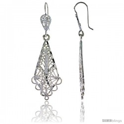 "Sterling Silver 2"" (51 mm) tall Diamond-shaped Filigree Dangle Earrings"