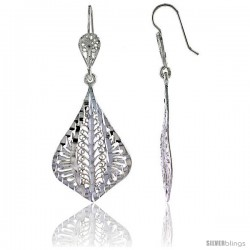 "Sterling Silver 2"" (51 mm) tall Fan-shaped Filigree Dangle Earrings"