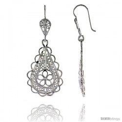 "Sterling Silver 1 3/4"" (45 mm) tall Pear-shaped Filigree Dangle Earrings"