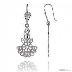 "Sterling Silver 1 3/4"" (45 mm) tall Fan-shaped Filigree Dangle Earrings"