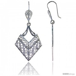 "Sterling Silver 1 13/16"" (46 mm) tall Diamond-shaped Filigree Dangle Earrings"