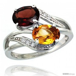 14k White Gold ( 8x6 mm ) Double Stone Engagement Citrine & Garnet Ring w/ 0.07 Carat Brilliant Cut Diamonds & 2.34 Carats Oval