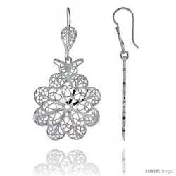 "Sterling Silver 1 7/8"" (47 mm) tall Flower Filigree Dangle Earrings"