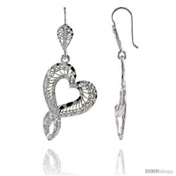 "Sterling Silver 1 13/16"" (46 mm) tall Heart-shaped Filigree Dangle Earrings"