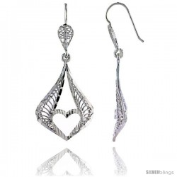 "Sterling Silver 1 13/16"" (47 mm) tall Pear-shaped Filigree Dangle Earrings, w/ Heart Cut Out"