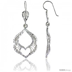"Sterling Silver 1 13/16"" (47 mm) tall Filigree Dangle Earrings, w/ Heart Cut Out"
