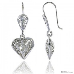 "Sterling Silver 1 1/16"" (27 mm) tall Puffed Heart Filigree Dangle Earrings"