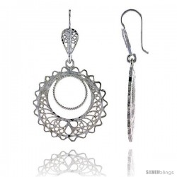 "Sterling Silver 1 11/16"" (43 mm) tall Filigree Dangle Earrings, w/ Circle Cut Out"