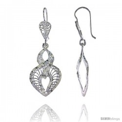 "Sterling Silver 1 9/16"" (40 mm) tall Heart-shaped Filigree Dangle Earrings"