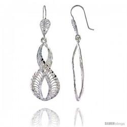 """Sterling Silver 2"""" (51 mm) tall Wavy Filigree Dangle Earrings"""
