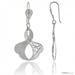"Sterling Silver 1 13/16"" (46 mm) tall Freeform Filigree Dangle Earrings"