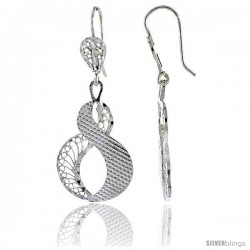 "Sterling Silver 1 5/8"" (41 mm) tall Round-shaped Filigree Dangle Earrings"