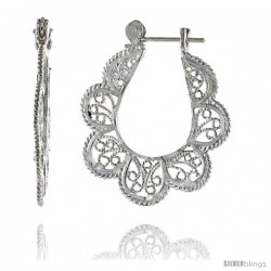 "Sterling Silver 1 1/4"" (31 mm) tall U-shaped Filigree Earrings, w/ Snap-down Lock"
