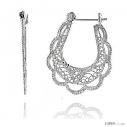 "Sterling Silver 1 5/16"" (34 mm) tall U-shaped Filigree Earrings, w/ Snap-down Lock"