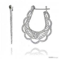 "Sterling Silver 1 5/16"" (34 mm) tall U-shaped Filigree Earrings, w/ Snap-down Lock"