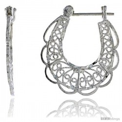 "Sterling Silver 1 1/8"" (29 mm) tall U-shaped Filigree Earrings, w/ Snap-down Lock"