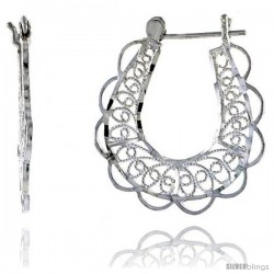 "Sterling Silver 1 1/4"" (31 mm) tall U-shaped Filigree Earrings, w/ Snap-down Lock -Style Fe132"